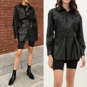 FAUX LEATHER  Belted Shirt Jacket- Black